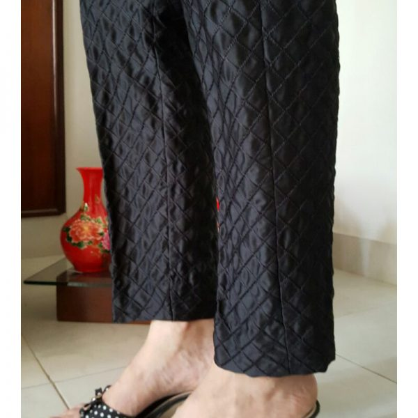 Embroidered Check Trousers for Ladies