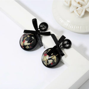 bowknot ribbon style fashion earrings - round shape