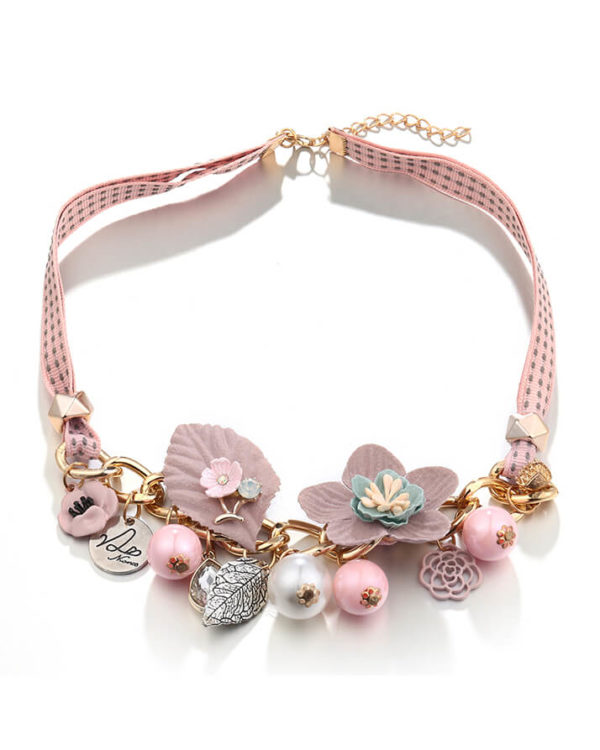 choker necklace - pink floral statement necklace