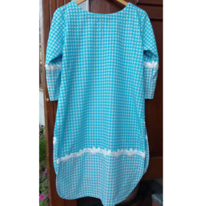 Ladies Printed Kurti Top Sky Blue