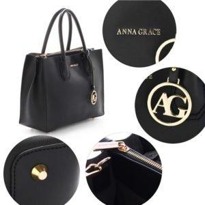 grab tote handbag with gold metal work black