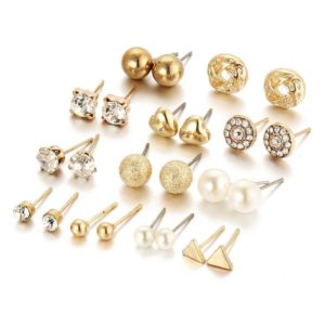 12 Pair - Stud Earring Set