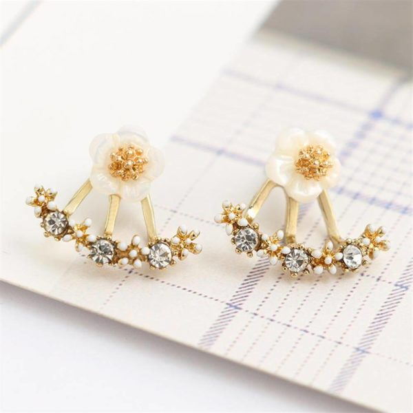 gold flower stud earring for women