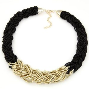 beaded necklace black gold 2018 design
