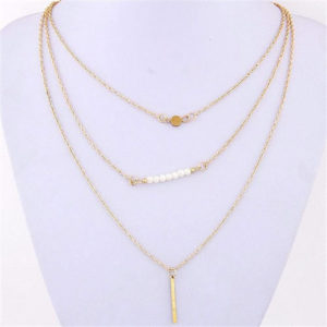 3 layer chain necklace - gold
