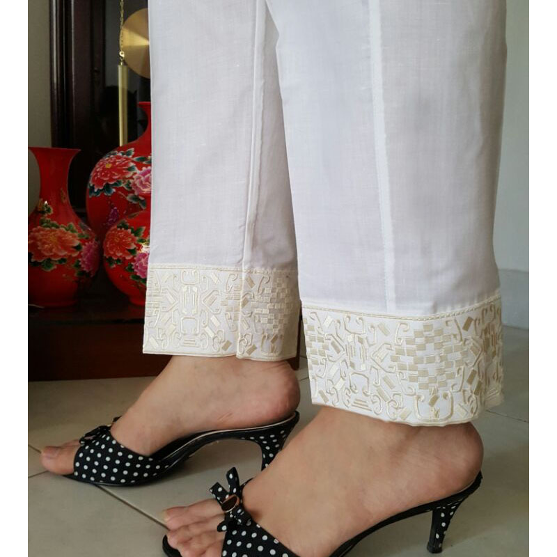 whiteTrouser With Gold Embroidery