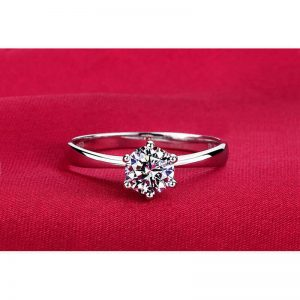 1 Carat Zircon Silver Plated Diamante Ring