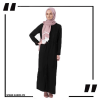 Black Front Open Coat with Belt Touch Abaya