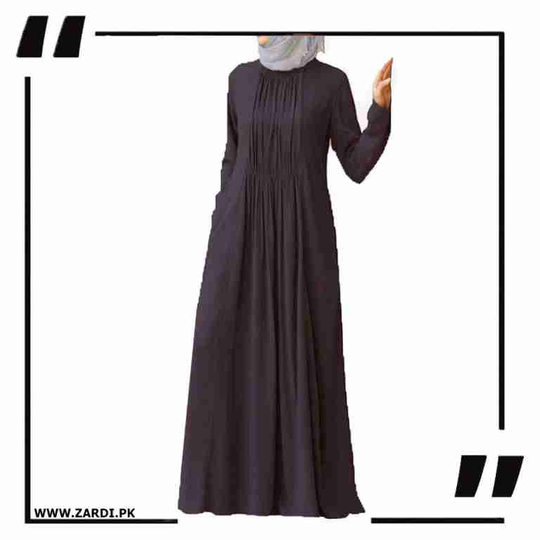 brown Ruched Abaya