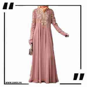 Nude Embroidered Abaya with V Neck