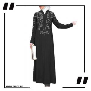 black White Embroidered Abaya