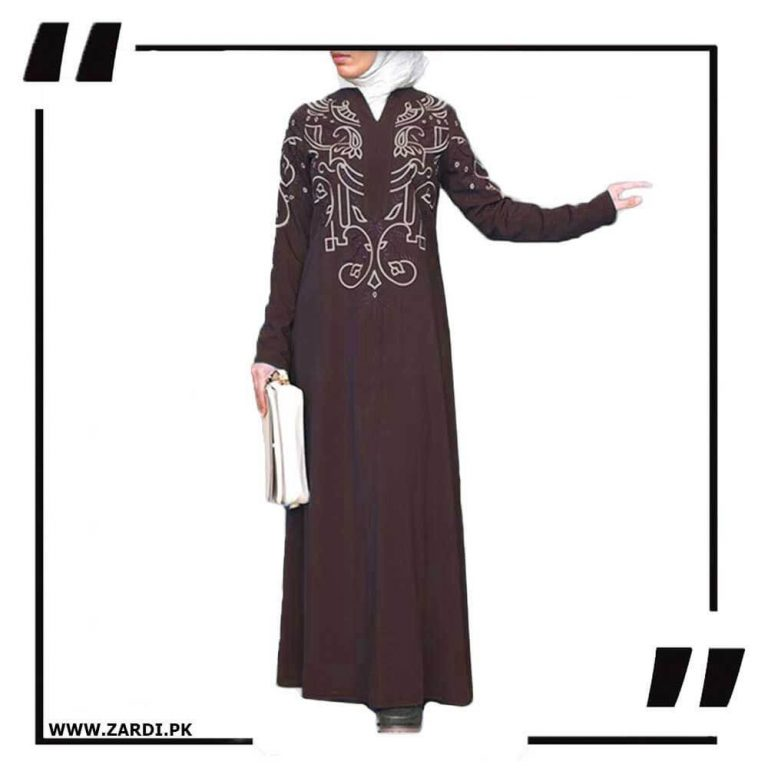 brown White Embroidered Abaya