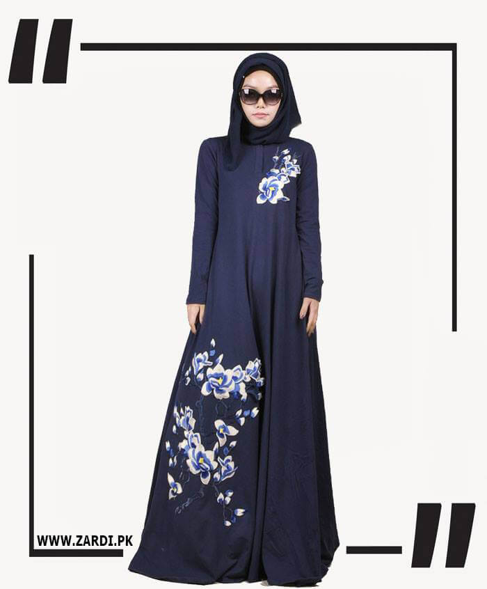 blue Embroidered Abaya