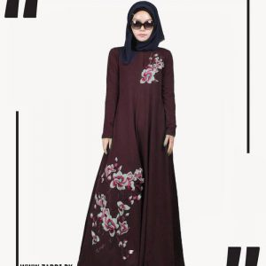brown Embroidered Abaya