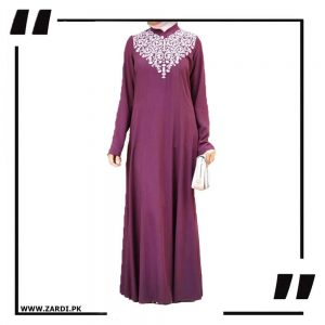 Purple Neckless White Embroidery Maxi