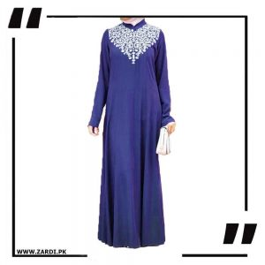 blue Neckless White Embroidery Maxi