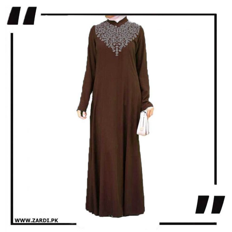 brown Neckless White Embroidery Maxi