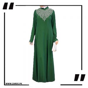 green Neckless White Embroidery Maxi