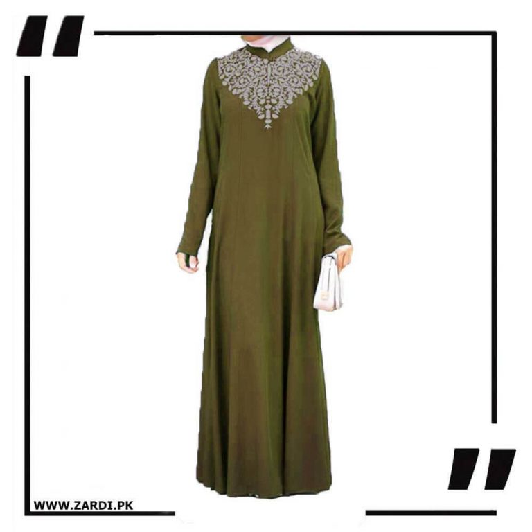 olive Neckless White Embroidery Maxi