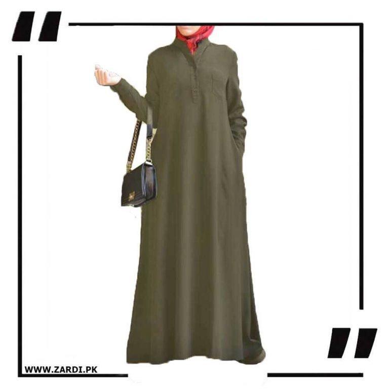 V Cut Sherwani Collar Long Abaya