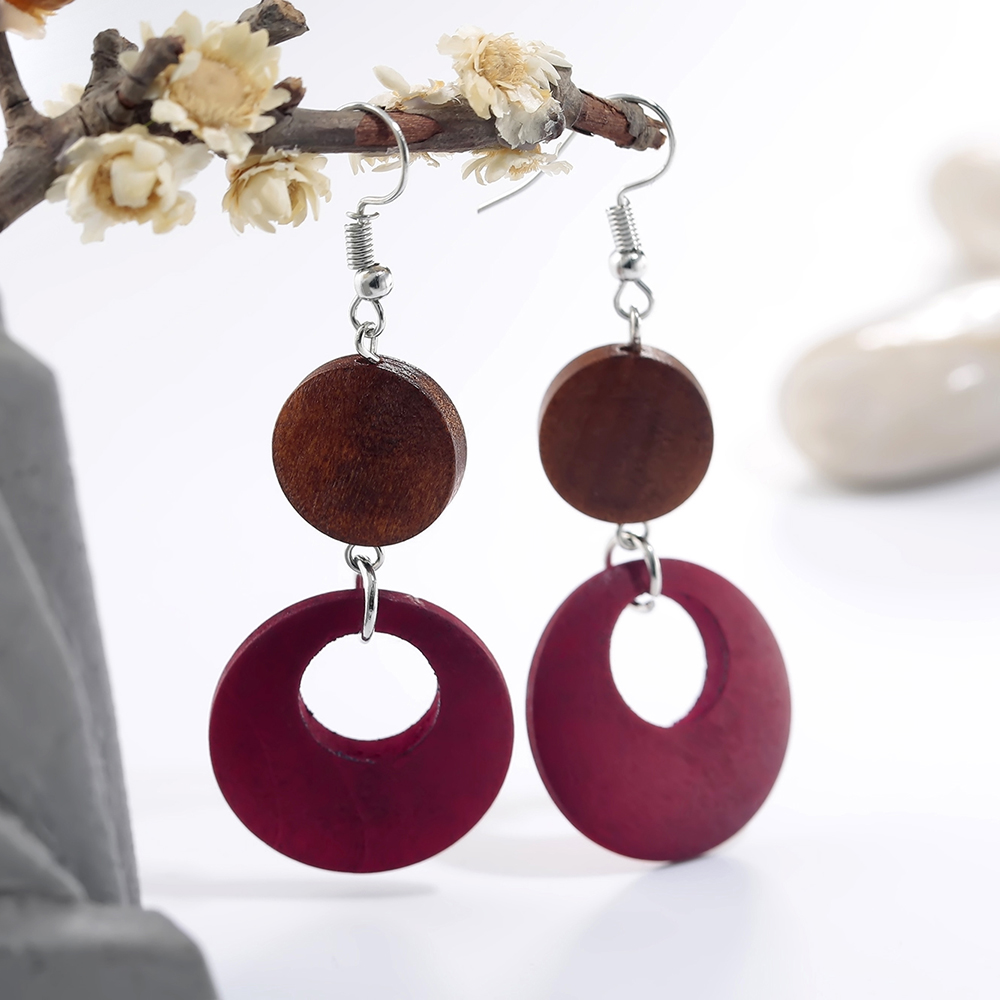 Wood Round Drop Earring For Her - BrownRed