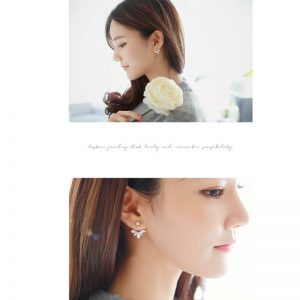 Gold Leave Crystal Stud Earring For Women
