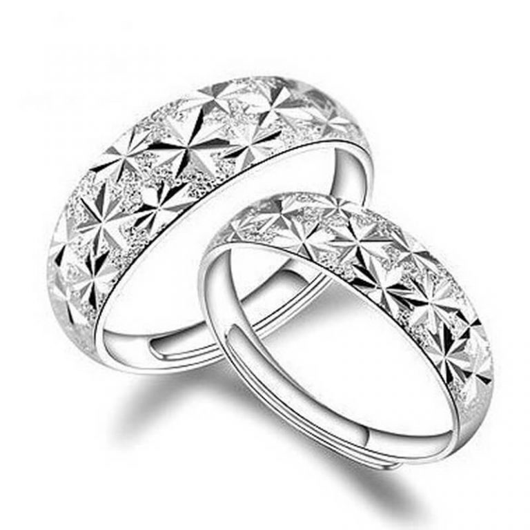 2 Pack Silver Plated Star Curved Ring Adjustable