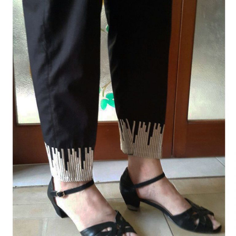 Black Trouser Gold Embroidery