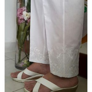 White Trouser With White Embroidery