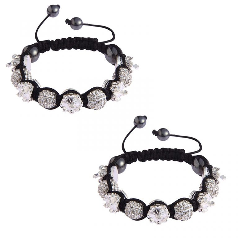 white Crown Black Crystal Disco Ball Bead Bracelet