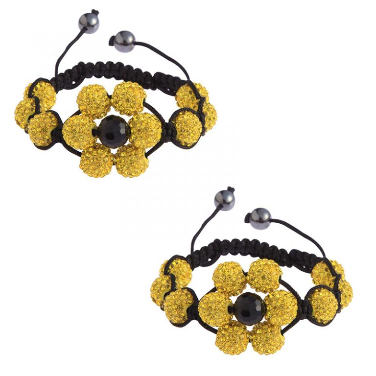 yellow Shamballa Bracelet Crystal-Disco Ball Friendship Bead