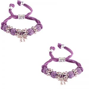 purple Colour Crystal Bracelet With Butterfly Charm