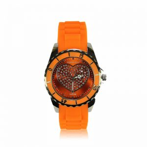 Orange Heart Diamante Watch For Women