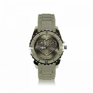 Grey Heart Diamante Watch For Women