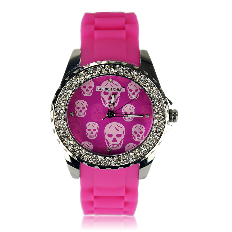 Fuchsia Skull Diamante Watch For Women