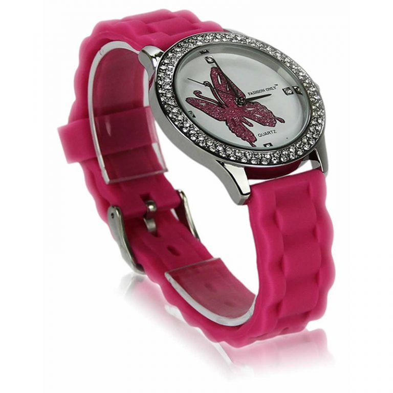 Fuchsia Butterfly Diamante Watch For Her