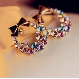 Multi Color Rhinestone Earring With Bow Design