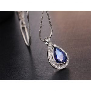 Silver Earring And Necklace Set With Blue Stone5