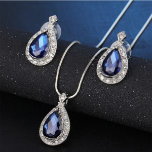 Silver Earring And Necklace Set With Blue Stone daraz