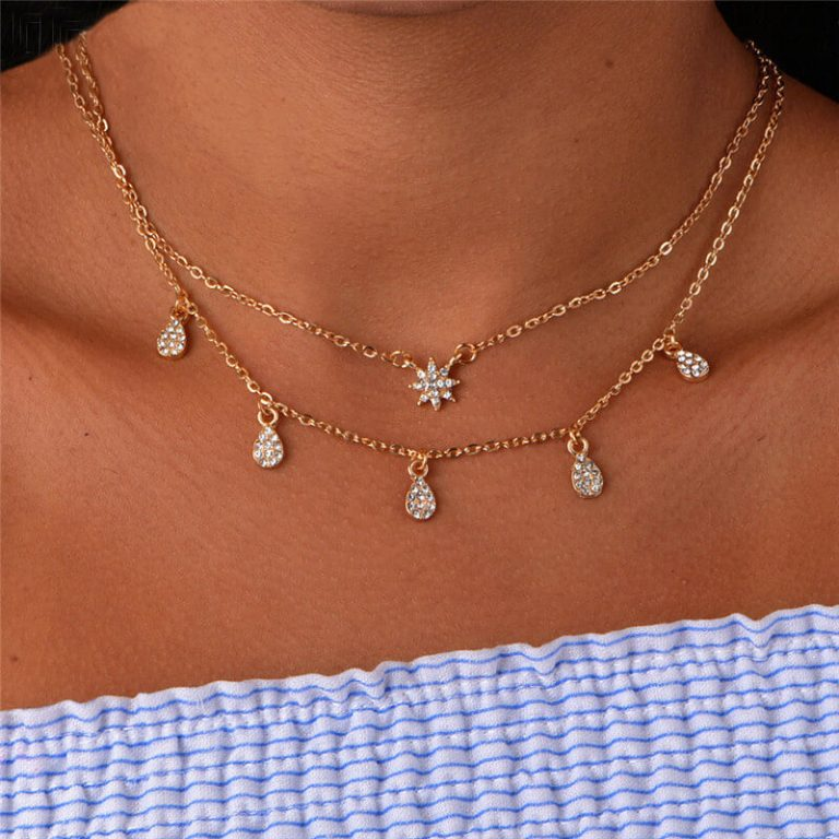 2 Layer Gold Chain Necklace With Diamantes