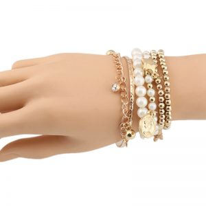 6 Piece Bracelet Set With Pearl Gold Beads