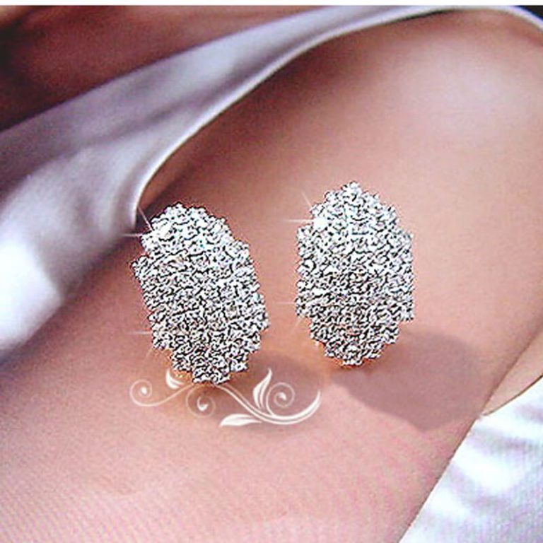 Silver Stud Earrings With Glowing Stones