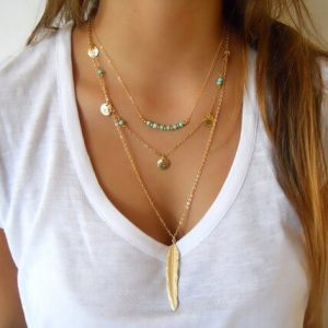 Multi Layer Beads Gold Necklace