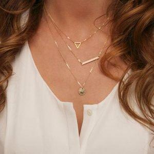 Gold Three Layer Multi Chain Fashion Necklace