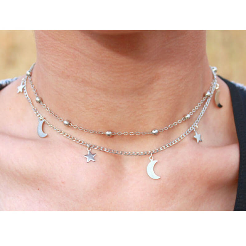 Silver Star Moon Beads Necklace