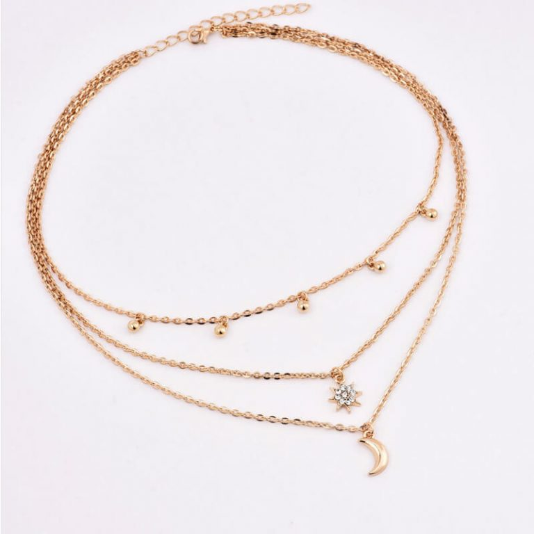 Gold Multi Chain Star Moon Beads Necklace
