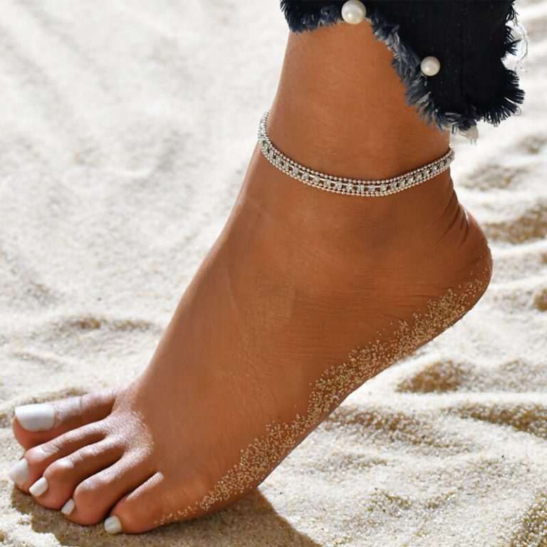 Silver Multi layer Beads Stone Anklet