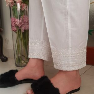 White Cotton Embroided Trouser