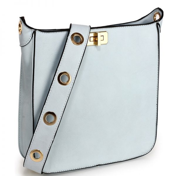 Blue Twist Lock Cross Body Bag