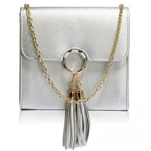 Silver Flap Clutch Purse With Tassel